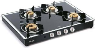 GLEN 1048 GT AI Black Forged Burners Mirror Finish Glass Automatic Gas Stove