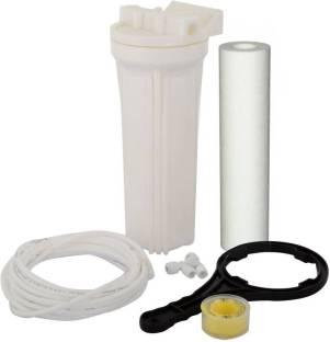 "Anveeras Prefilter Housing Bowl Filter + PP Spun Filter + 3 Mtr Pipe + Tefflon Tape + 1/4"" Nosel & Spanner Key for RO Water Purifie Solid Filter Cartridge"