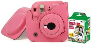 FUJIFILM Instax Mini 9 Camera With Leather Bag and 20x Film Sheet - Flamingo Pink Instant Camera