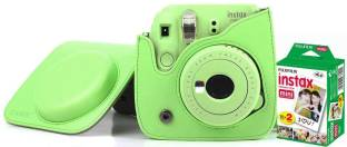 FUJIFILM Instax Mini 9 Camera With Leather Bag and 20x Film Sheet - Lime Green Instant Camera