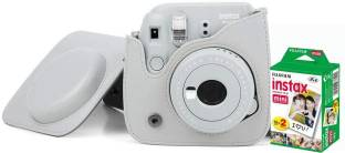 FUJIFILM Instax Mini 9 Camera With Leather Bag and 20x Film Sheet - Smoky White Instant Camera