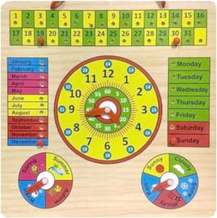 CrazyCrafts Wooden Clock, Calendar Days Month Week Season Weather Educational Board Games Board Game