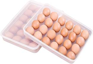Aavjo Storage Box With Lid for 24 Eggs Container Plastic Egg Separator