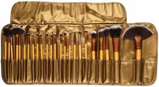 SKINPLUS Professional Cosmetic Brush Set (24 Pieces) with Golden Leather Pouch for Eye Shadow Blush Concealer
