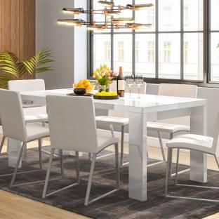 Urban Ladder Kariba High Gloss Engineered Wood 6 Seater Dining Table Finish Color   White High Gloss