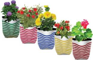 TrustBasket Set of 5 Stripe Grow Bag for growing gardening plants, flowers and vegetable seeds Grow Bag