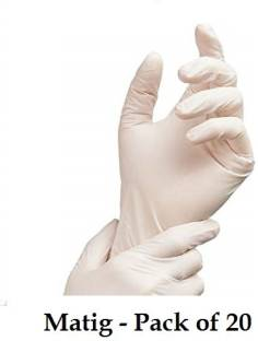 Matig Nitrile powder free Large size Pack of 20 (loosely packed) Nitrile Examination Gloves