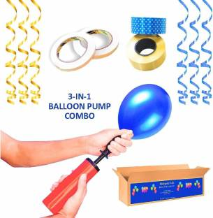 MAHOGANY 1 pc Balloon Inflating Pump , 2 pc Curling Ribbons (25 mts Polka,Gold), 2 pc Double Sided Tape