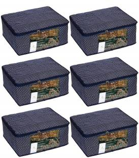 HomeStrap Home Storage Cotton Quilted Large Saree Cover - Set of 6 - Navy Blue SARCOVQULMULTINBLUE6PC