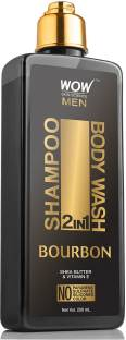 WOW SKIN SCIENCE Bourbon 2-in-1 Shampoo + Body Wash - No Parabens, Sulphate, Silicones & Color - 250mL