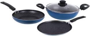 Flipkart SmartBuy Splatter Finish Cookware Set of 3 - Non Induction Bottom - Blue