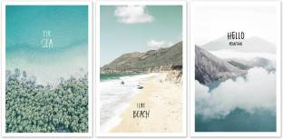 The Beach View Three Piece MDF Painting Paper Print