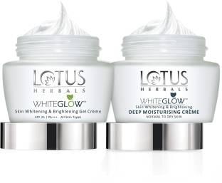 LOTUS HERBALS White Glow Skin Whitening & Brightening Gel Cream 60 g and deep Moisturising Creme 60g