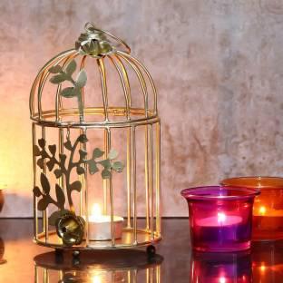 JaipurCrafts Gold Color Metal Bird cage Iron 2 - Cup Candle Holder