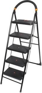 Branco Premium Heavy Foldable Milano 5 Steps Ladder with Wide Steps & Anti-Skid Shoes - Black Steel La...