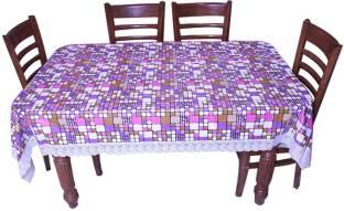 E Retailer Geometric 6 Seater Table Cover Multicolor, PVC  Polyvinyl Chloride