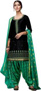 THE85 Cotton Embroidered, Self Design Salwar and Dupatta Material
