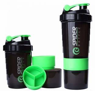 Quinergys ® 500ml Protein Powder Shaker Sports bottle Spider Water Bottle Portable - Green 600 ml Shaker