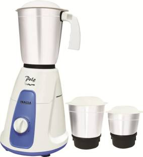 Inalsa Polo POLO 3 JARS 550 W Mixer Grinder (3 Jars, White, Blue)