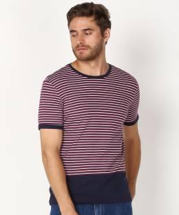 United Colors of Benetton. Striped Men Round Neck Purple T-Shirt
