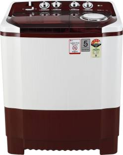 LG 7 kg 4 Star Rating Semi Automatic Top Load Maroon, White