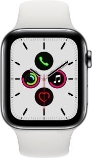 APPLE Watch Series 5 GPS + Cellular 44 mm Stainless Steel Case with White Sport Band