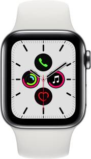 APPLE Watch Series 5 GPS + Cellular 40 mm Stainless Steel Case with White Sport Band
