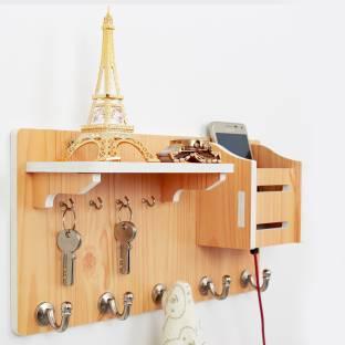 WORA Key Chain Holder And Hanging Racks Multipurpose Particle Board Wall Shelf
