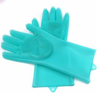 saisaien silicon gloves for washing clothes With Scrubber Reusable Wet and Dry Glove