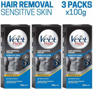 Veet Hair Removal Cream Men Sensitive Skin 100g Each Pack 3