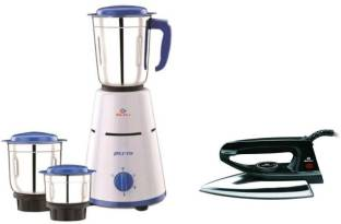 BAJAJ Combo Pack Pluto with 600 Dry Iron 500 W Mixer Grinder with Iron (3 Jars, White, Blue)