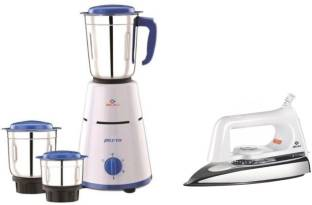 BAJAJ Combo Pack Pluto with 750 Dry Iron 500 W Mixer Grinder with Iron (3 Jars, White, Blue)