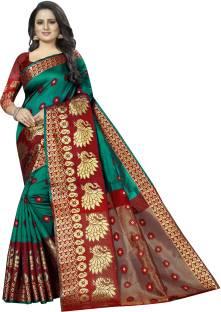RadadiyaTRD Self Design, Woven, Floral Print Banarasi Cotton Blend, Poly Silk Saree