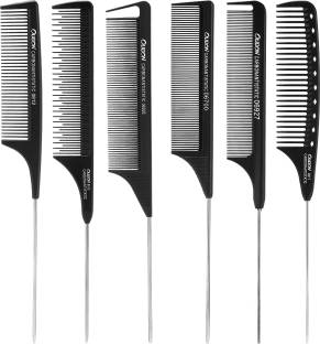 Beauté Secrets 6 Piece Comb Set Black Carbon Fiber And Stainless Steel Pintail Chemical And Heat Resistant Teasing Comb Lightweight Rat Tail Comb For All Hair Types
