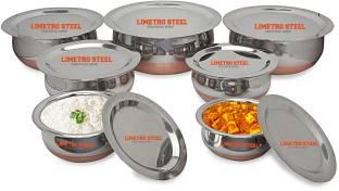 LIMETRO STEEL 7 Pcs Set of Stainless Steel Copper Bottom Prabhu Chetty / Cookware / Serveware / Handi / POT / Cook & Serve Handi 0.5 L, 0.75 L, 1 L, 1.5 L, 2 L, 2.5 L, 3 L with Lid