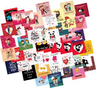ODDCLICK Set of 48 Love Cards For Explosion Box or Other DIY Love Greeting Cards 3X3 Inches Greeting Card