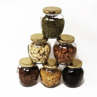 HKC HOUSE HKC HOUSE Natural Matka Glass Jars with Airtight Metal Lid for Spice, Jam, Honey, Herb Jar, 400 ml, Case of 6  - 400 ml Glass Grocery Container