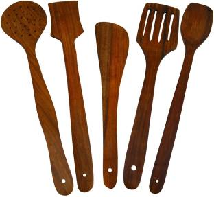 CLASSIC SHOPPE M361 Wooden Serving and Cooking Spoon Kitchen Utensil Set of 5 Kitchen Tool Set