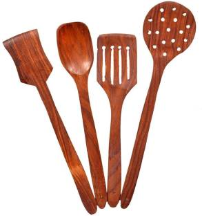 CLASSIC SHOPPE A120 Wood Sheesham Cooking Spoons for Non-Stick Utensils (Multicolour, Standard size) -Set of 4 Kitchen Tool Set