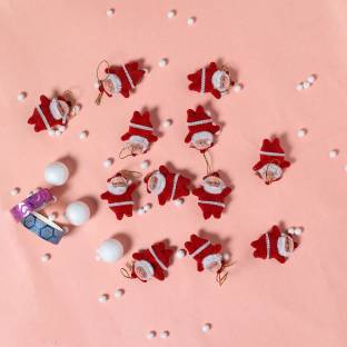 TIED RIBBONS Christmas Tree Decoration Miniature Santa Claus Hanging Ornaments Pack of 12
