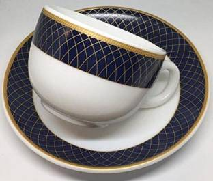 Trendhook Pack of 12 Opalware Glass Sovrana Iris 6 Cup 6 Saucer Regent Blue Glass
