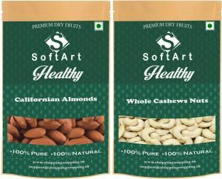 Soft Art Healthy Californian Badam Whole Kaju (250g Each) Almonds, Cashews