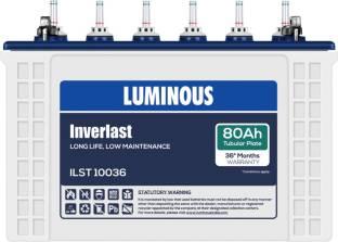 LUMINOUS Inverlast ILST10036 80Ah Short Tubular Battery Tubular Inverter Battery