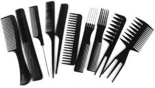 Neotis Barbers Combs Brush Comb Set, Black (Set of 10)