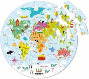 Lattice Amazing World Map Jigsaw Floor Puzzle 60 Pcs with 4 Double Sided Flashcards