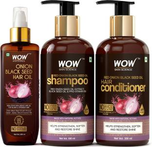 WOW SKIN SCIENCE Red Onion Black Seed Oil Ultimate Hair Care Kit (Shampoo + Hair Conditioner + Hair Oil)
