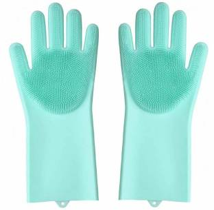 Mezire Silicone Kitchen Magic Gloves Dish Washing Rubber Brush Cleaning Scrubber 1 Pair Color May Very Wet Dry Glove Reviews Latest Review Of Mezire Silicone Kitchen Magic Gloves Dish Washing Rubber Brush