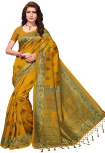 Oomph!Printed Bollywood Art Silk Saree Yellow