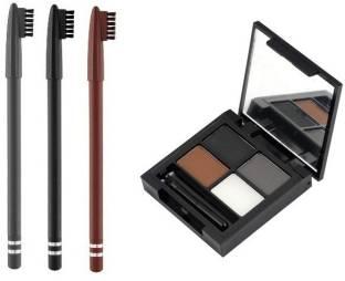 RTB Beauty Eyebrow Palette 3 Brows Powder + 1 Wax Cream With Eye Brow Pencil Black, Grey & Brown
