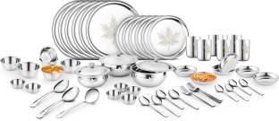 Classic Essentials Pack of 61 Stainless Steel Classic Essentials Premium Mapple with Permanent Lazer design Dinner Set